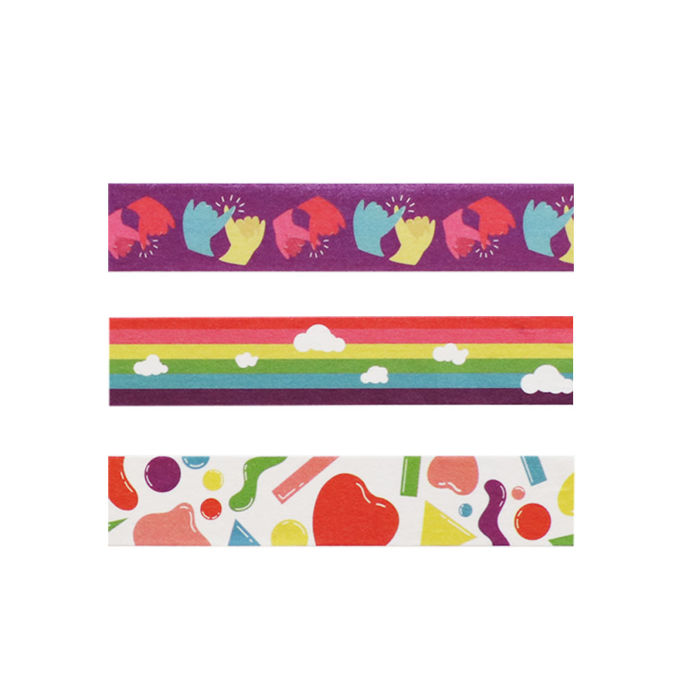 Washi Tape Love is Love Abstrato 3m x 15mm 3 Unidades Jocar Office