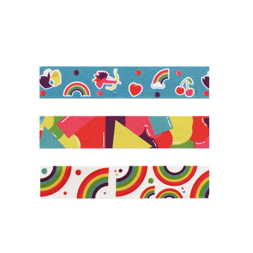 Washi Tape Love is Love Arco-íris 3m x 15mm 3 Unidades Jocar Office