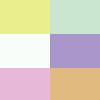 Amarelo/verde/branco/rosa/lilás/salmão