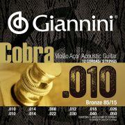 ENCORDOAMENTO VIOLÃO AÇO 12 CORDAS COM BOLINHA, SÉRIE COBRA, REVESTIMENTO BRONZE 85/15 0.010-0.050 - GEEF12M - GIANNINI