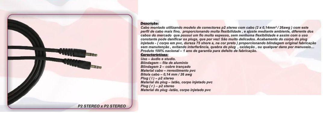 CABO DE AUDIO FONE P2 X P2 STEREO 1,52 M  BC502 - BRIXTON
