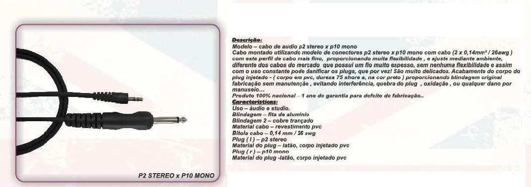 CABO DE AUDIO  P2 X P10 0,30 5FT 1,52 M BC508 - BRIXTON