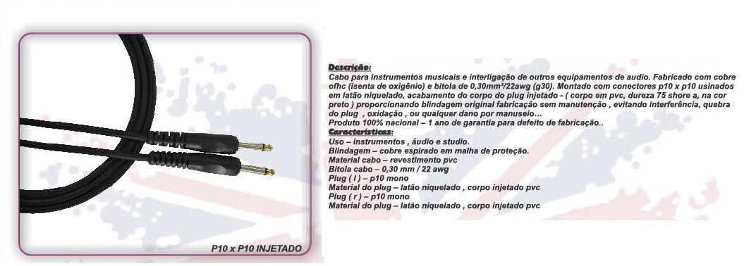 CABO INSTRUMENTO GUITARRA / BAIXO P10 X P10 3FT 0,91 CM  BC101- BRIXTON