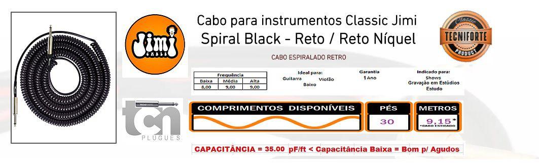 CABO P GUITARRA ESPIRAL JIMI COIL 30FT II PRETO - TECNIFORTE
