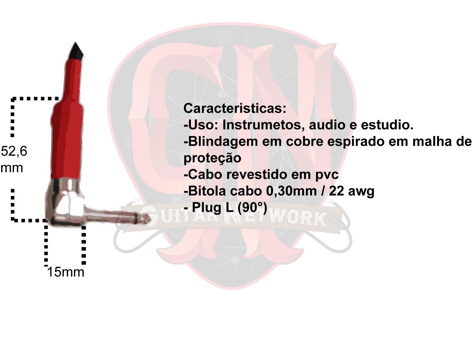 CABO P/ PEDAL PEDALBOARD GUITARRA P10 X P10  20 CM  BC015 - BRIXTON