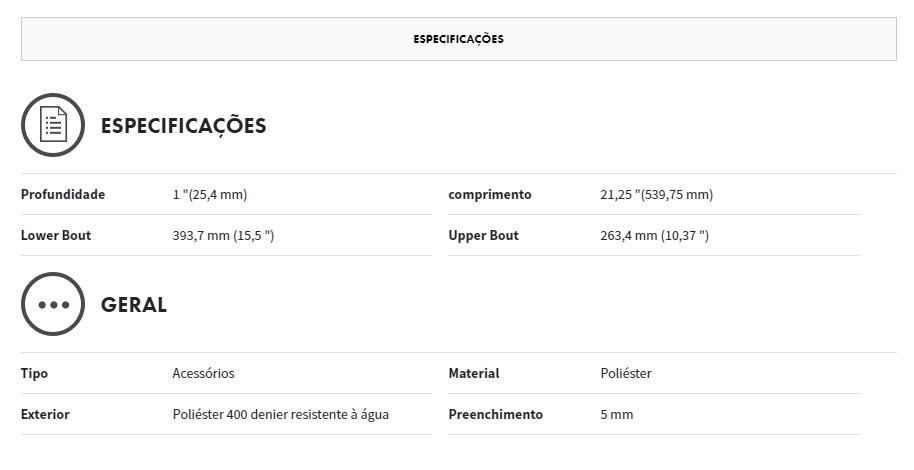 CAPA P/ GUITARRA GIG BAG FE405 PRETA - FENDER