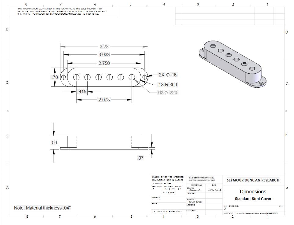 Capa para Captador Single coil S-Cover Blk (3) Logo 11800-01-B - SEYMOUR DUNCAN