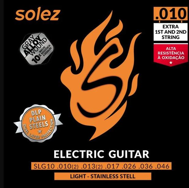 """ENCORDOAMENTO GRAY ALLOY GUITARRA 0.010"""" SLG10 GA - SOLEZ"""