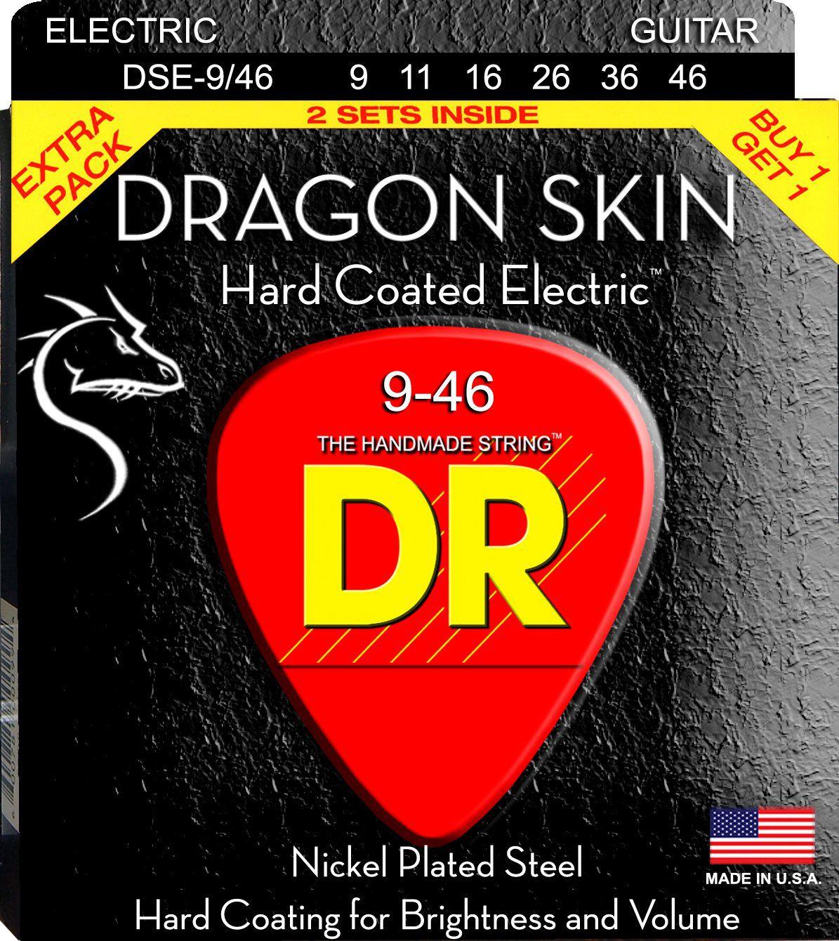 ENCORDOAMENTO GUITARRA DRAGON SKIN PACK DUPLO 0.09 DSE2-9 - DR STRINGS