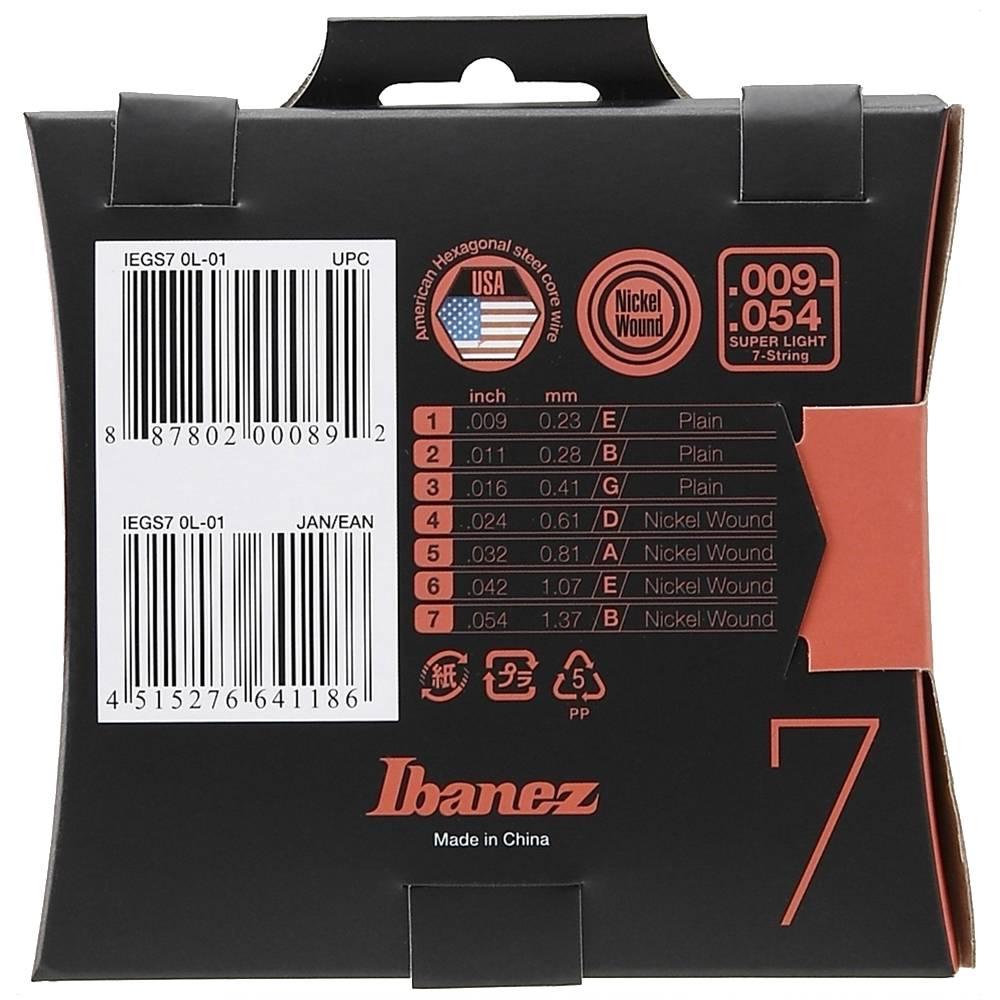 ENCORDOAMENTO INOX P/ GUITARRA 7 CORDAS IEGS7 0.09 - IBANEZ