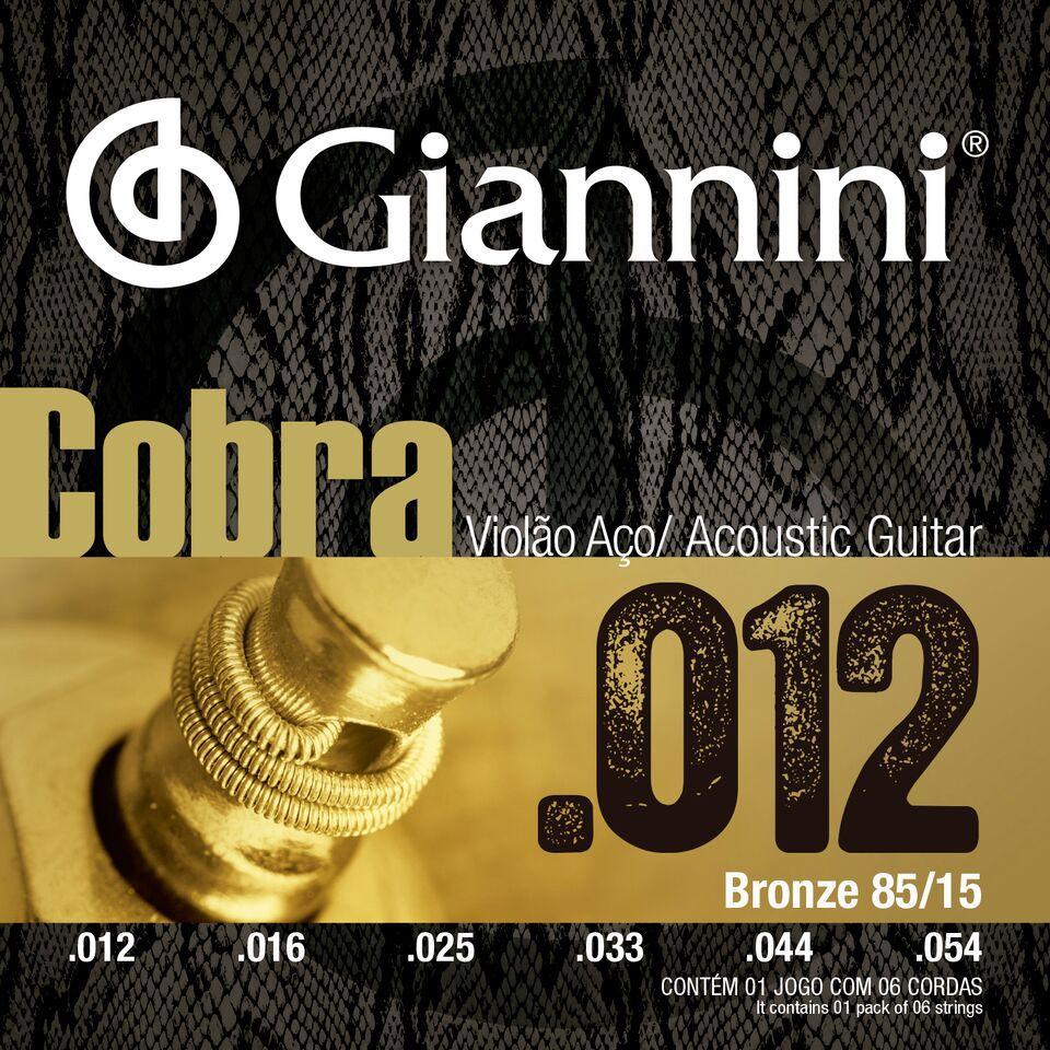 ENCORDOAMENTO PARA VIOLÃO AÇO COM BOLINHA, SÉRIE COBRA, REVESTIMENTO BRONZE 85/15 0.012-0.054 - GEEFLKS - GIANNINI