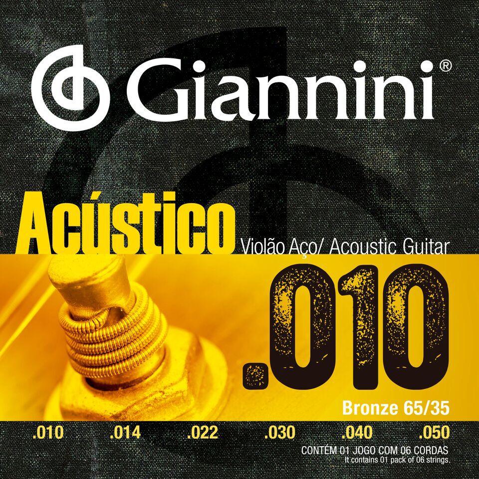 """ENCORDOAMENTO PARA VIOLÃO AÇO, SÉRIE ACÚSTICO, REVESTIMENTO BRONZE 65/35 0.010"""" - GESWAM - GIANNINI"""