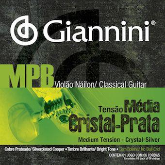 ENCORDOAMENTO PARA VIOLÃO NAILON, SÉRIE MPB, TENSÃO MÉDIA, CRISTAL / PRATA - GENWS - GIANNINI