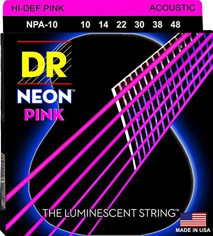 ENCORDOAMENTO VIOLÃO AÇO Hi-Def NEON PINK0.10 NPA-10 - DR STRINGS