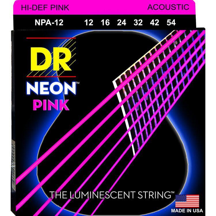 ENCORDOAMENTO VIOLÃO AÇO Hi-Def NEON PINK 0.12 NPA-12 -  DR STRINGS