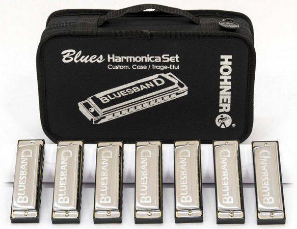Kit Blues Harmônica com 7 Harmônicas (C, D, E, F, G, A, Bb) - HOHNER