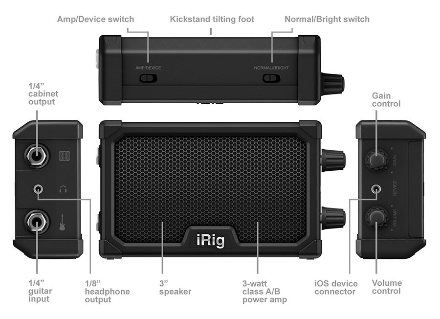 Micro amplificador com interface iOS - iRig Nano Amp - IK MULTIMEDIA