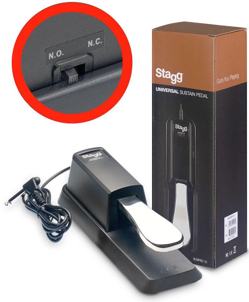 Pedal de sustain para piano eletrônico ou teclado, com chave de polaridade - SUSPED 10 - STAGG
