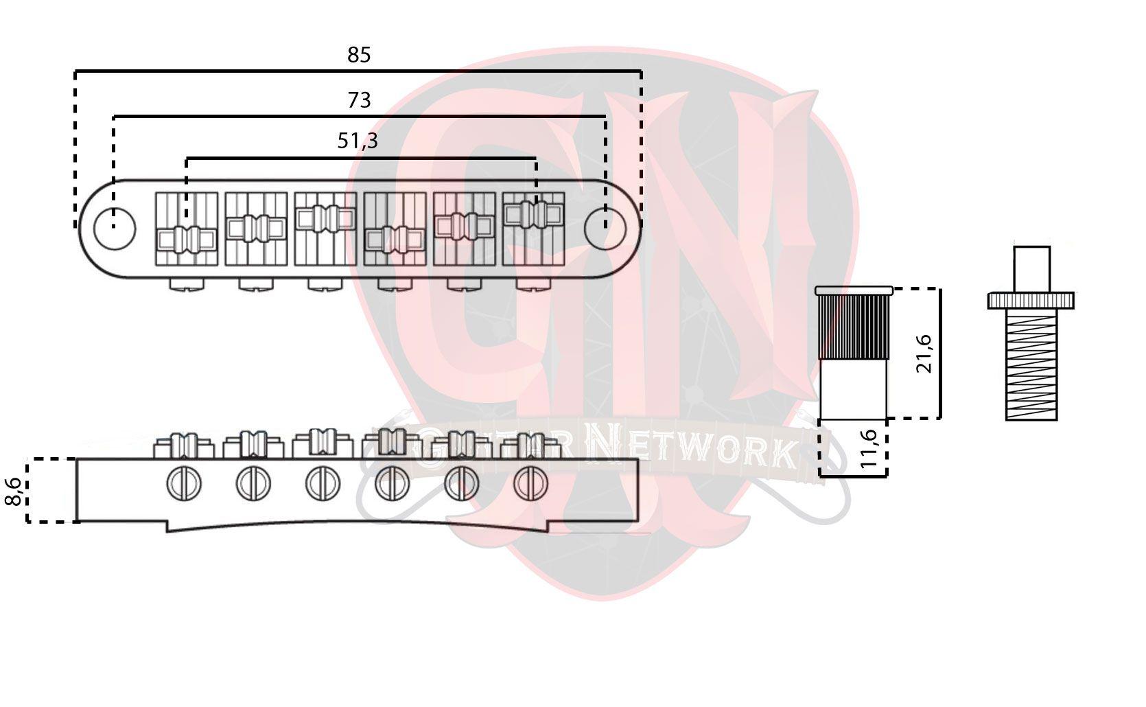 PONTE P/ GUITARRA ROLLER TUNE-O-MATIC MTB 025 CROMADA 10,4 MM DOLPHIN