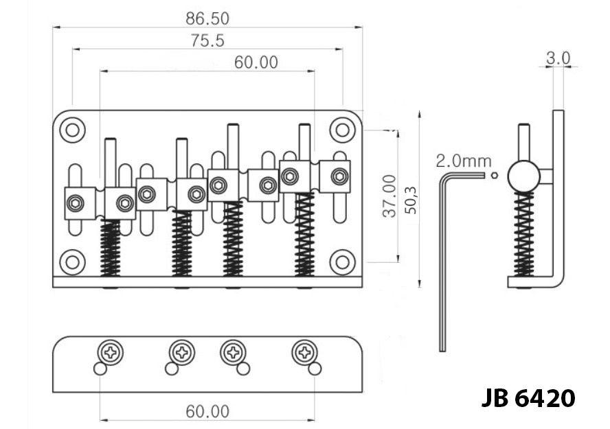 PONTE PARA BAIXO 4 CORDAS JAZZ BASS CROMADO JB6420-CR - SPIRIT