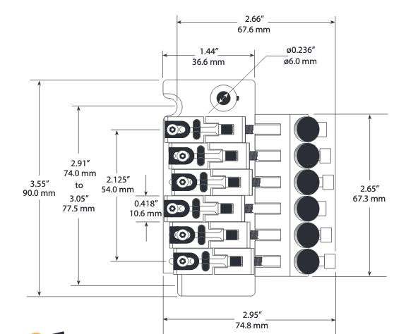 PONTE TIPO FLOYD ROSE LB63  - STRING SAVER PS-0080-C0 - CROMADA - GRAPHTECH
