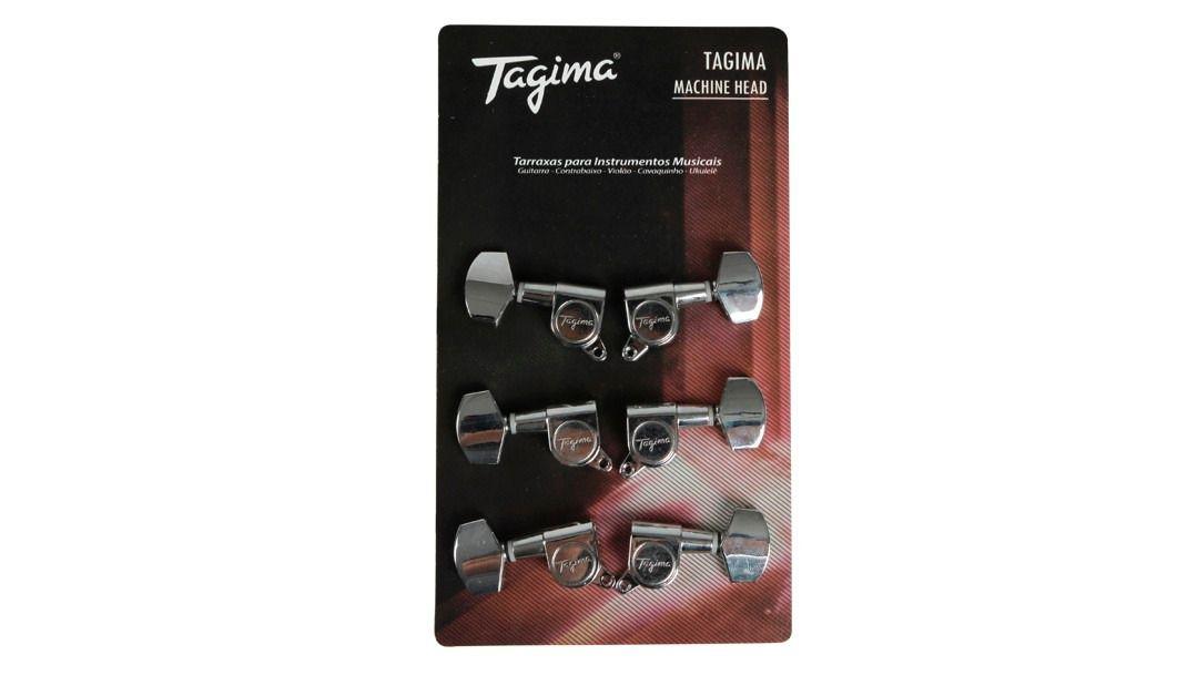 TARRAXA BLINDADA PARA VIOLAO ACO / GUITARRA TMH 801 COR - CROMADA - TAGIMA