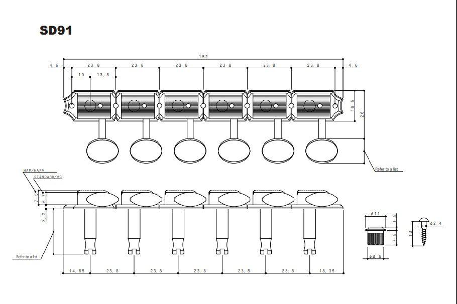 TARRAXA GUITARRA 6 EM LINHA VINTAGE SD91-05M NIQUEL - GOTOH
