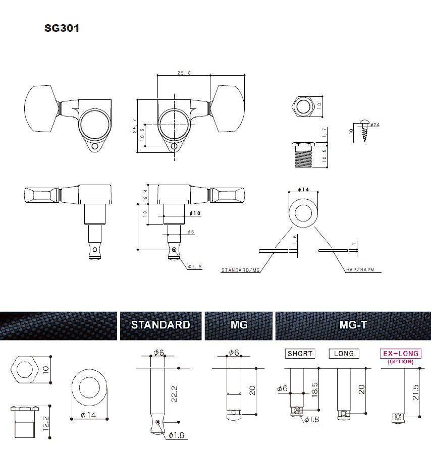 TARRAXA P/GUITARRA COM TRAVA SG301-20 MG-T 3X3 CROM - GOTOH