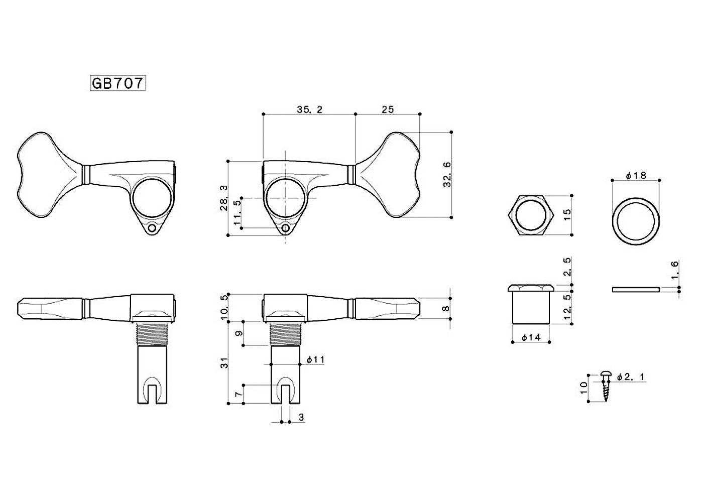 Tarraxa para Baixo  2+2 Cromado GB707- Gotoh