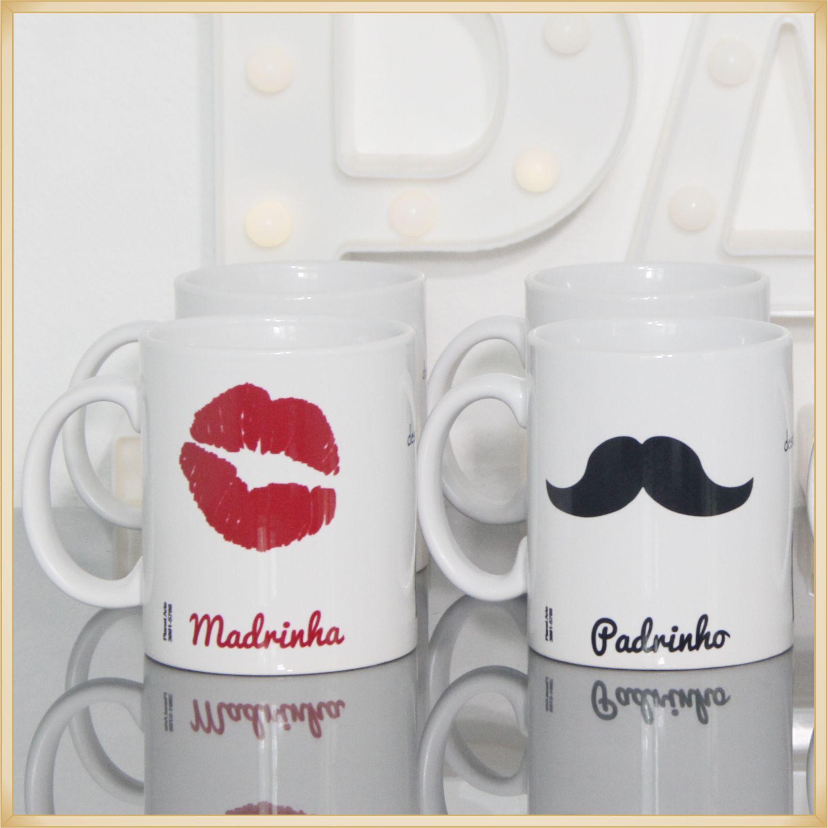 10 Canecas personalizadas de porcelana para lembrancinhas de casamento Padrinhos e Madrinhas