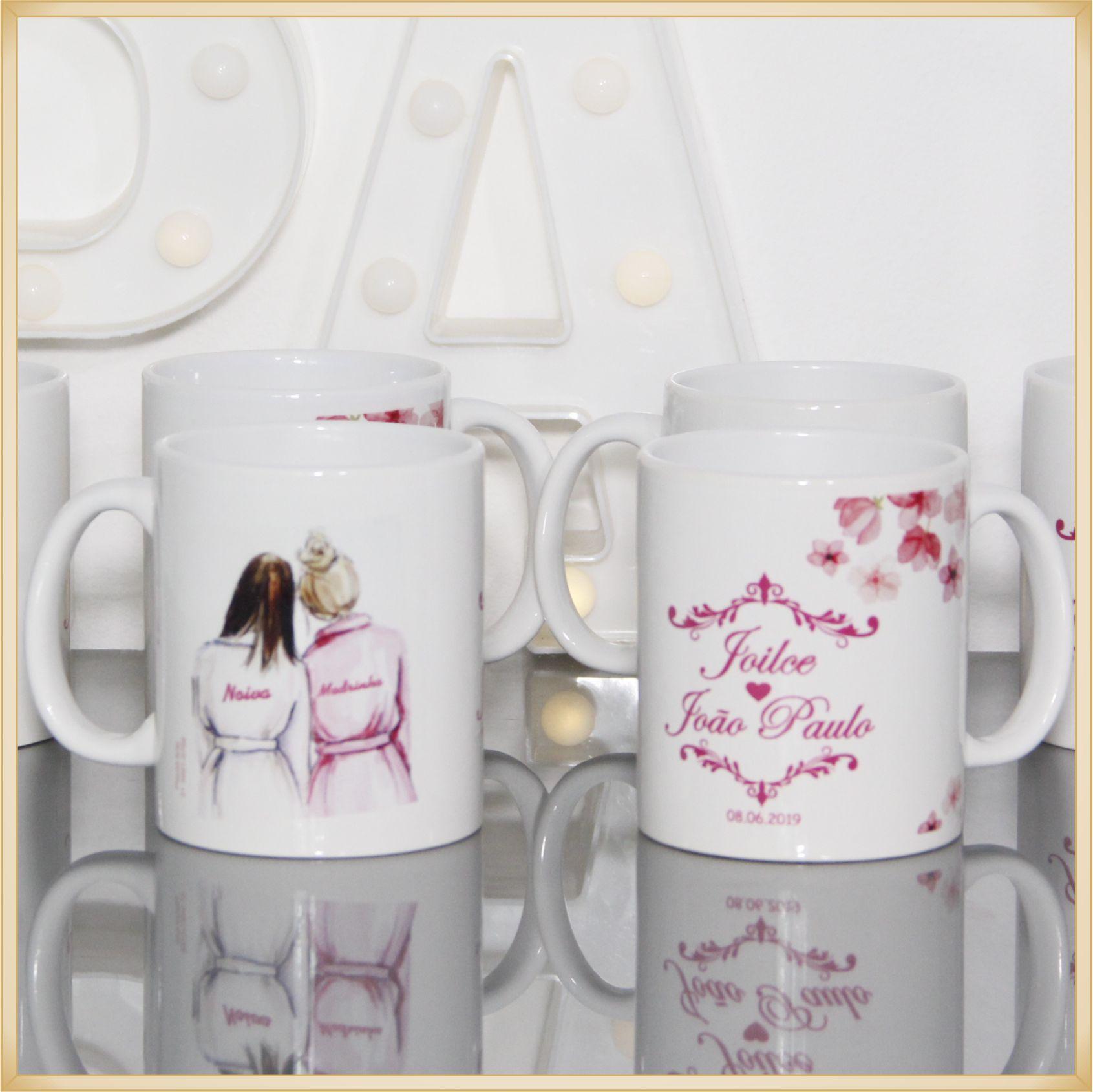 10 Canecas personalizadas de porcelana para madrinhas e padrinhos de casamento