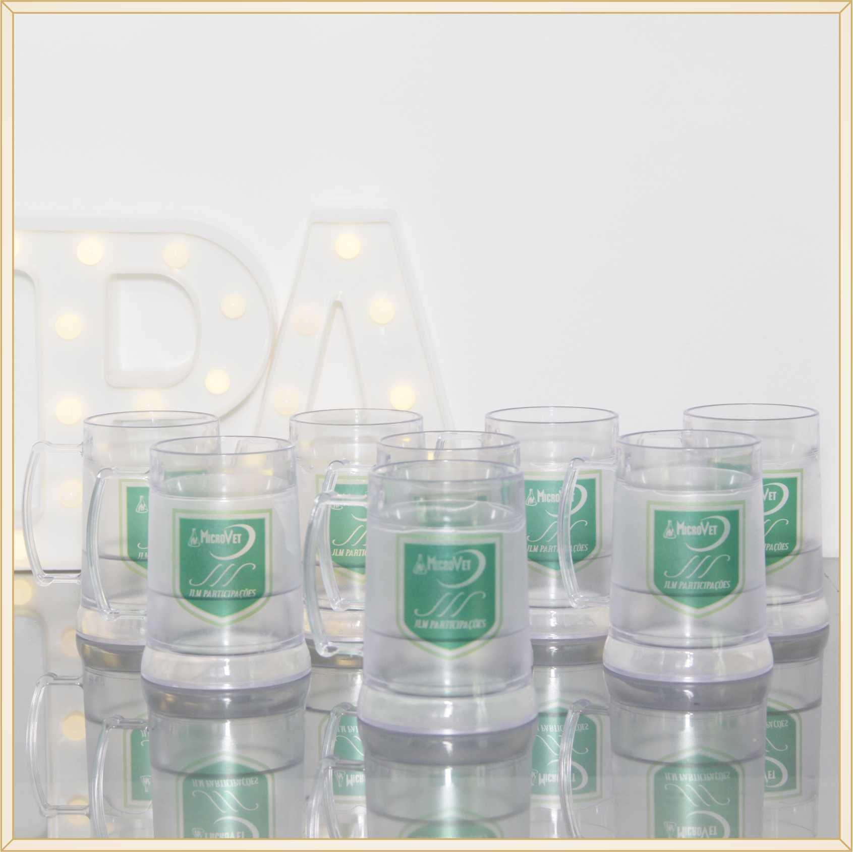 12 Canecas de acrílico gel congelante para brindes empresariais personalizados para feiras e eventos corporativos