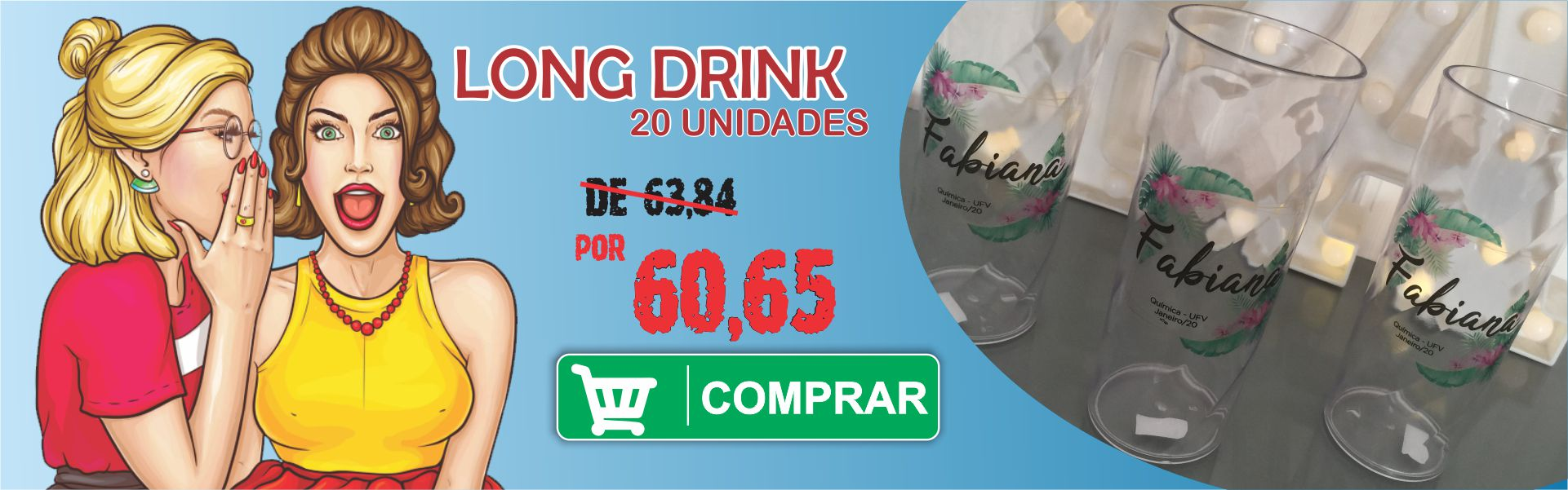 20 COPOS LONG DRINK PERSONALIZADOS
