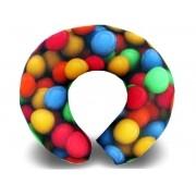 Almofadas de Pescoço Travesseiro para Viagem Bolinhas Coloridas