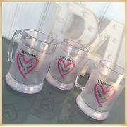 Canecas de gel personalizadas - acrílico qualidade, ótimo acabamento, sistema de congelamento, parede dupla, 340 ml. - kit 30 unidades