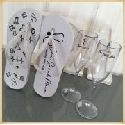 Kit formatura com Taças de Champanhe + chinelo personalizados - 10 unidades de cada