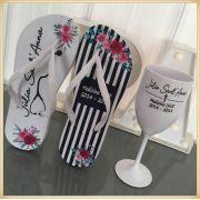 Kit formatura com Taças de Vinho + chinelo personalizados - 10 unidades de cada
