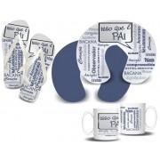 Kit Isso que é Pai  - Almofada Pescoço + Caneca Porcelana + Chinelo