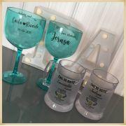 Kit padrinhos de casamento com Taça de Gin + Caneca de gel Personalizada