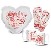 Kit para Namorados Amor I Love You Almofada de Coração + Chinelo + Caneca Porcelana