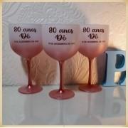 Taças de gin degrade personalizadas aniversário - alta qualidade, brilhante, ótimo acabamento, parede de 2,5mm, material atóxico, 580 ml - kit 30 unidades