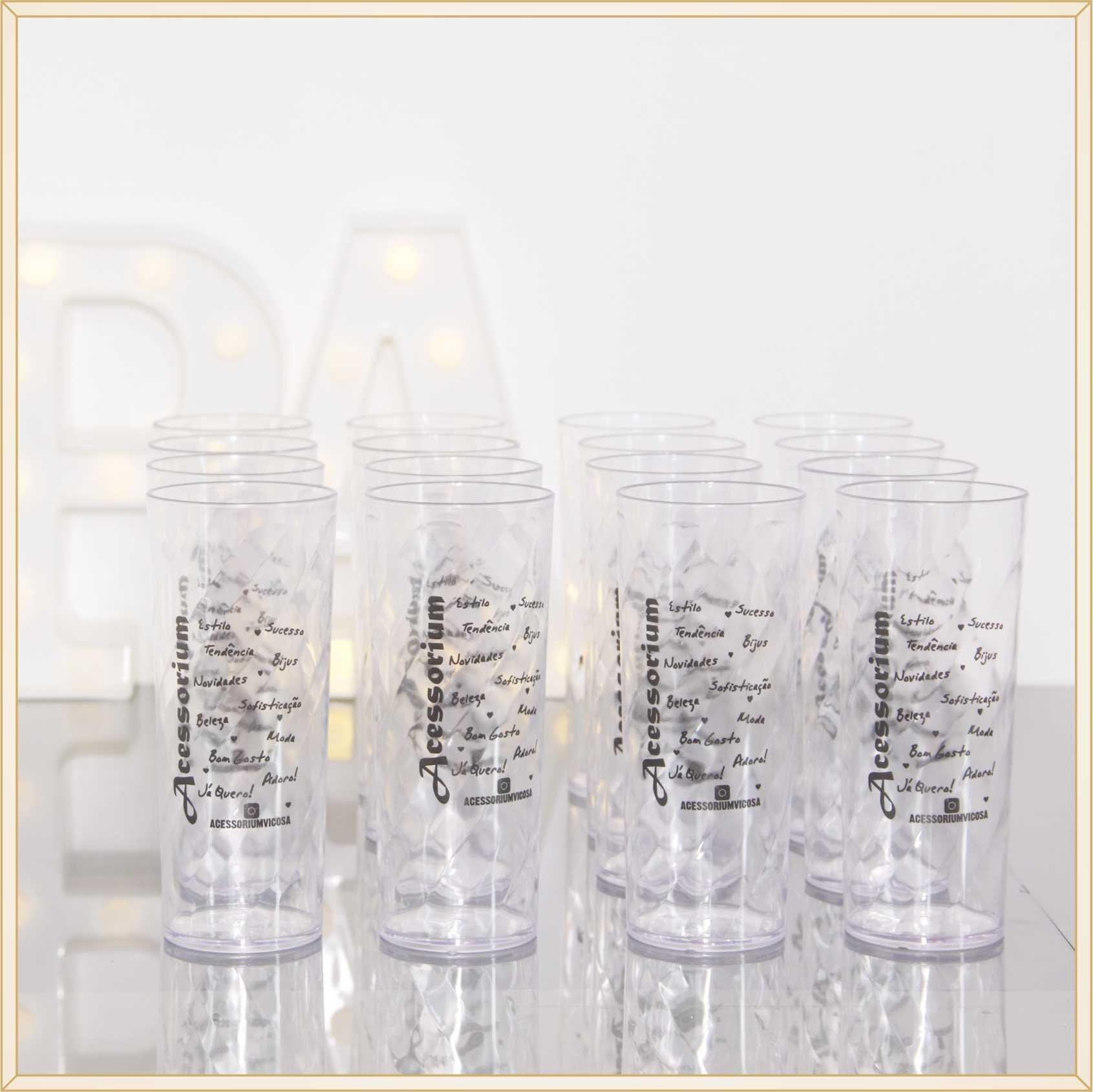 30 Copos long drink de acrílico personalizados brindes empresariais feiras e eventos corporativos