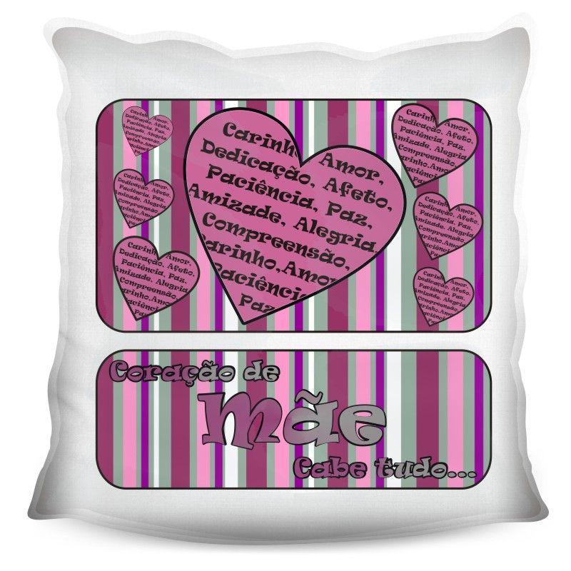 Almofada Quadrada Personalizada Coração de Mãe cabe TUDO