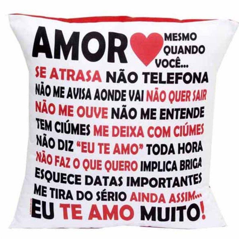 Almofada Quadrada Personalizada Namorados Amor em Palavras