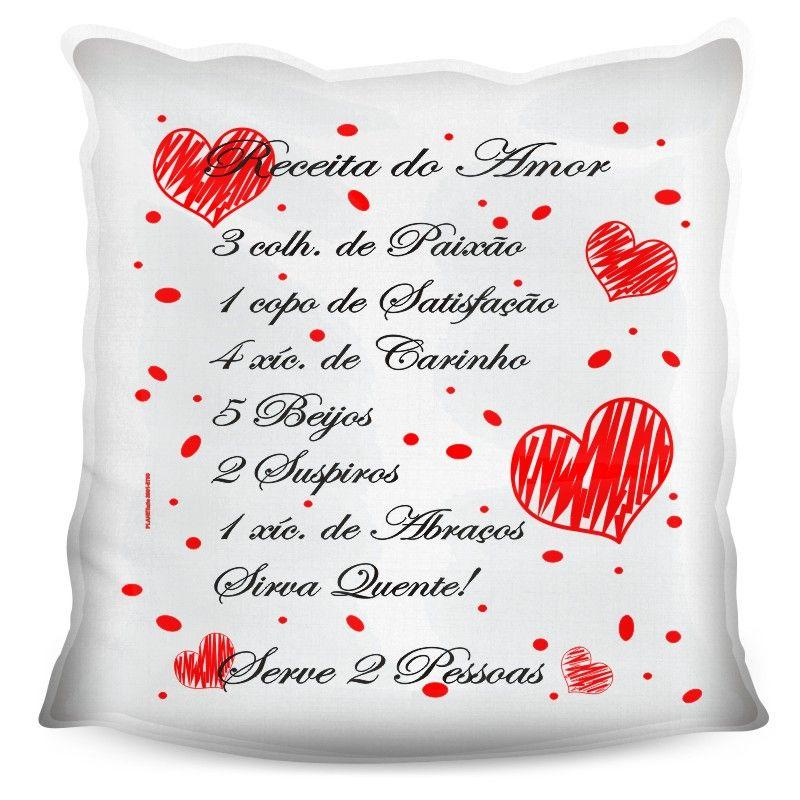 Almofada Quadrada Personalizada Namorados Receita do Amor