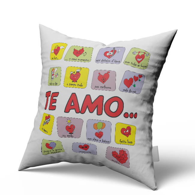 Almofada Quadrada Personalizada Namorados Te Amo de Varias Formas