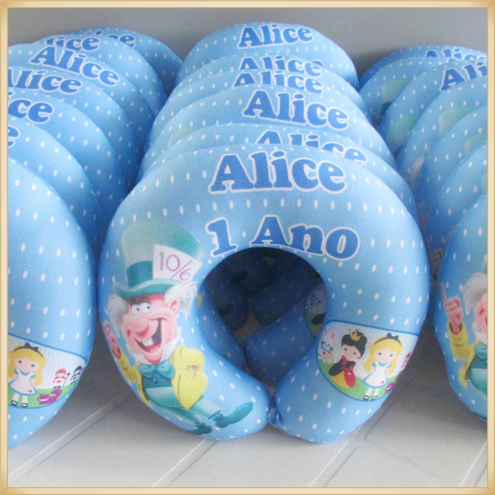 Almofadas apoio de pescoço Travesseiro para viagem Personalizada para Lembrancinha de Aniversário infantil Brindes para criança - Kit com 15 unidades