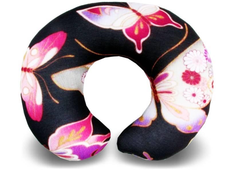 Almofadas de Pescoço Travesseiro para Viagem Borboletas Black