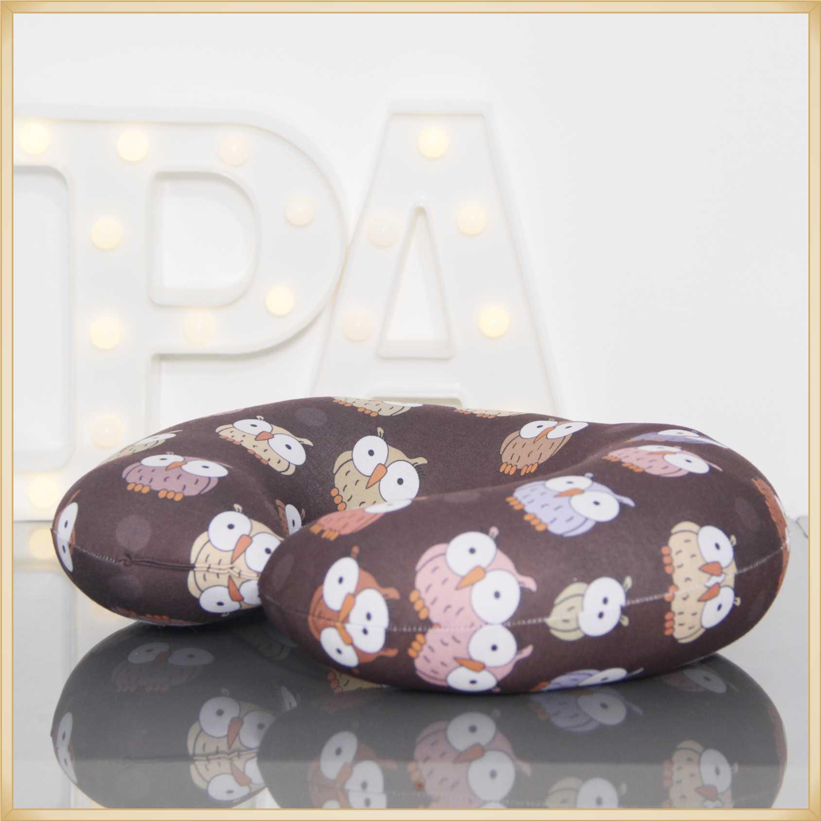 Almofadas de Pescoço Travesseiro para Viagem Coruja Brown