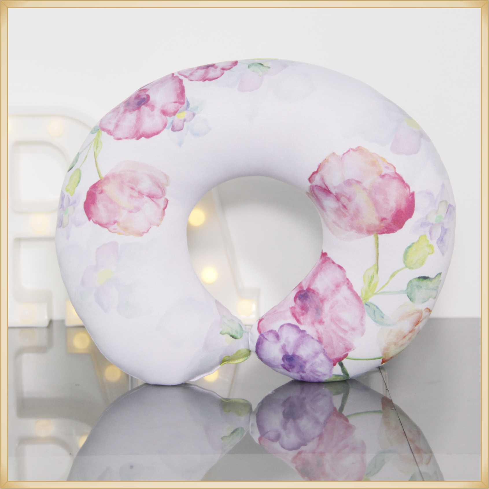 Almofadas de Pescoço Travesseiro para Viagem Flores Pink White